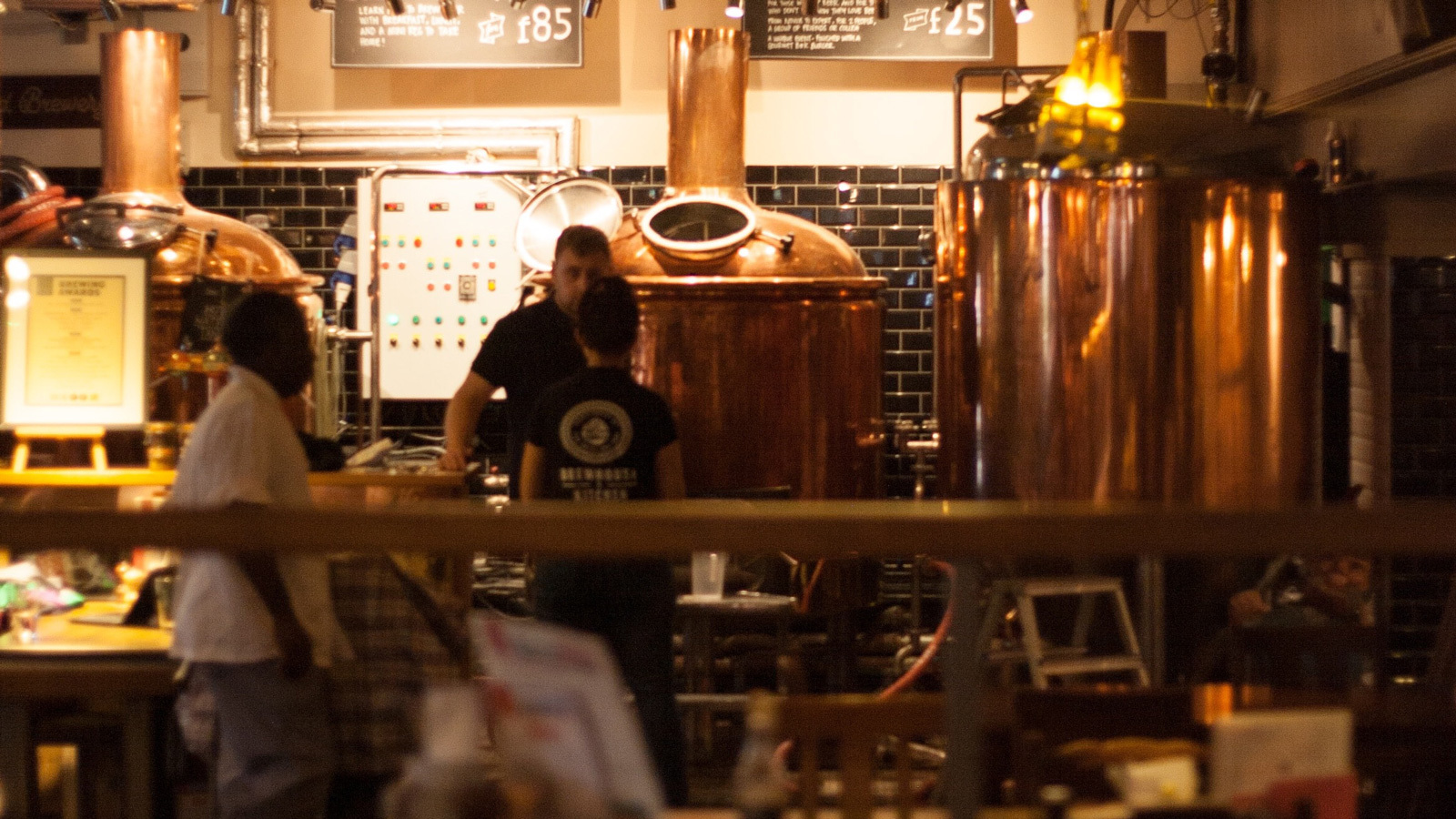 A bartender and customer sitting at a brewery bar