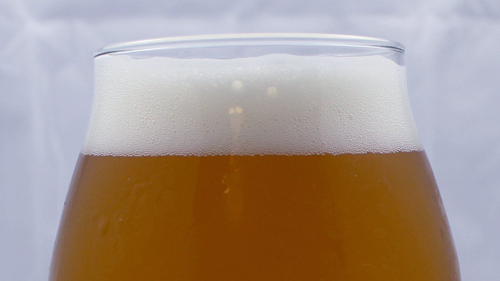 Close-up of the foam on top of a beer glass